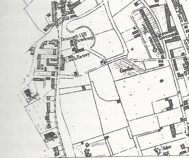 extract from 1842 Map of Camberwell by J Dewhirst.jpg showing Denmark Hill Academy