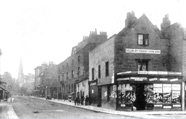 Corner Denmark Hill and Coldharbour Lane, 1889 buidlings replaced a few years later by the Metropole Theatre Southwark Library