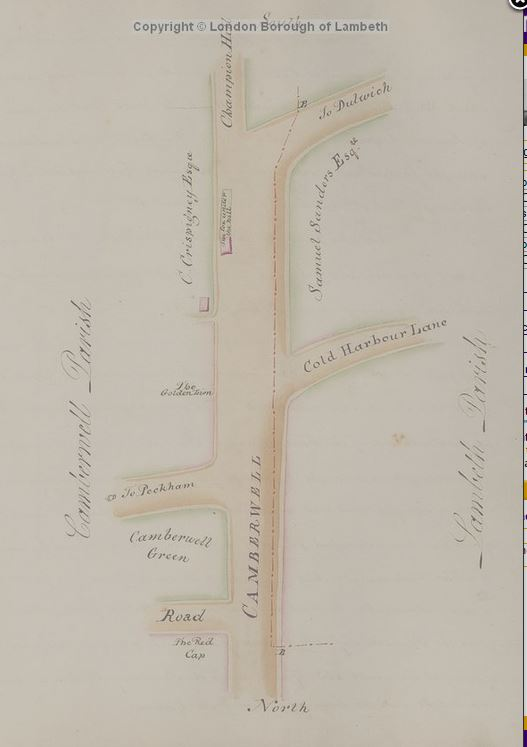 Golden Lion pub on map dran by Middleton Bailey, From Perambulation of the Parish of Lambeth, 1808