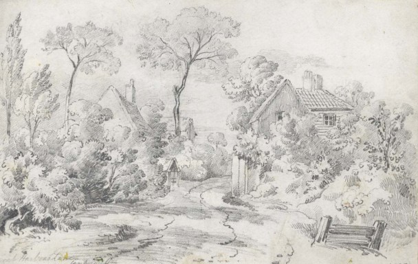 lz254 early 19th C Graphite Drawing Coal Harbour Lane, Camberwell