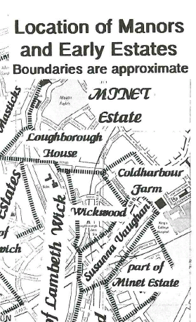 Extract from Location of Manors and Early Estates Alan Piper Brixton Society Collection