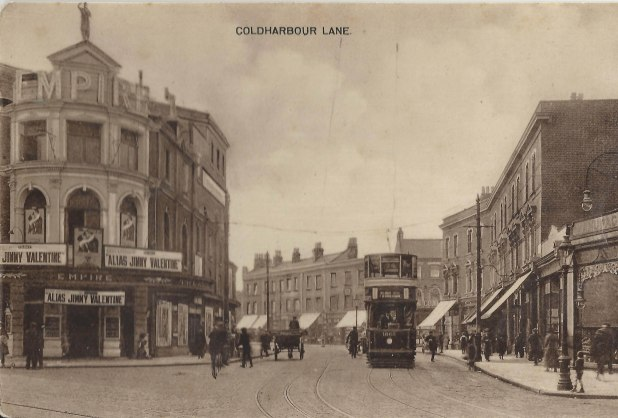 Coldharbour Lane With Metropole and Tram Route 74 1920 Silent Movie