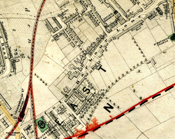 Extract from Stanford's Library Map of London, 1862