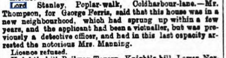 Morning Advertiser 01 April 1869 Lord Stanley