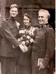 Sture and Flora Larsson , wedding day 1934 with Henry W Mapp who officated