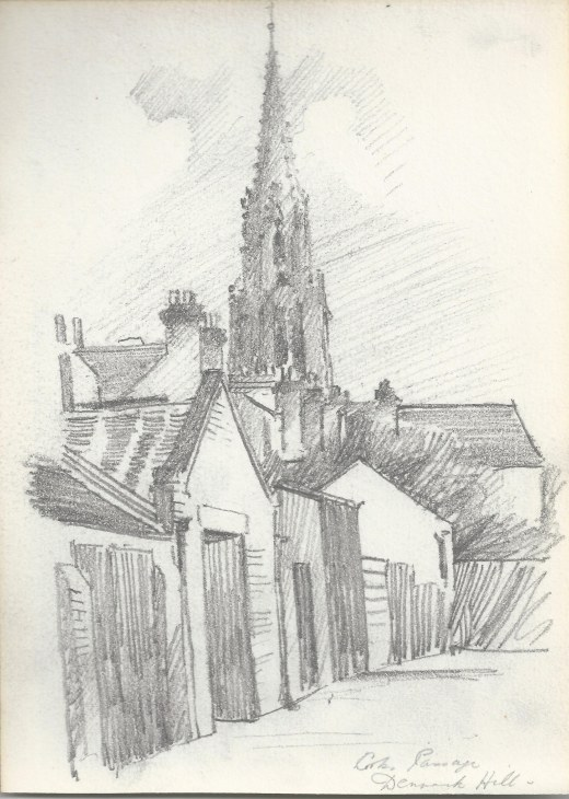 Coldharbour Passage, Denmark Hill, view of St Matthews , Ernest Suttin, pencil drawing, 1907