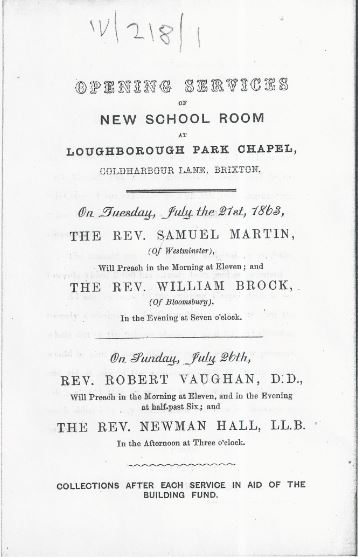 Opening Services for the new Loughborough Park Congregational Church school