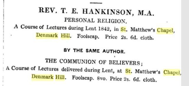 Rev T Hankinson lectures, St Matthews Chapel, 1842