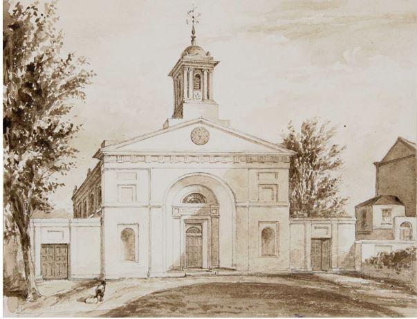 Small monochrome watercolour of Denmark Hill Chapel, Lambeth, 1830's Surrey Archives 9043 2 5 13