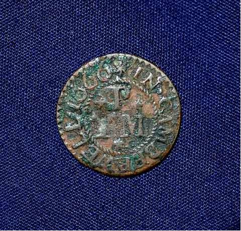 Traders Token Thomas Philips Bulls Head 1666 Surrey History centre front