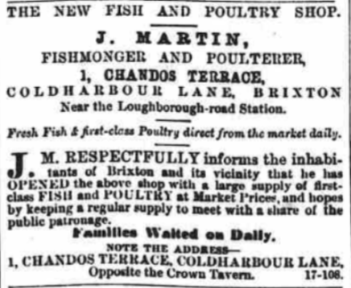 200 CL J Martin Fishmonger and Poulterer Advert SLP 19 Sept 1868