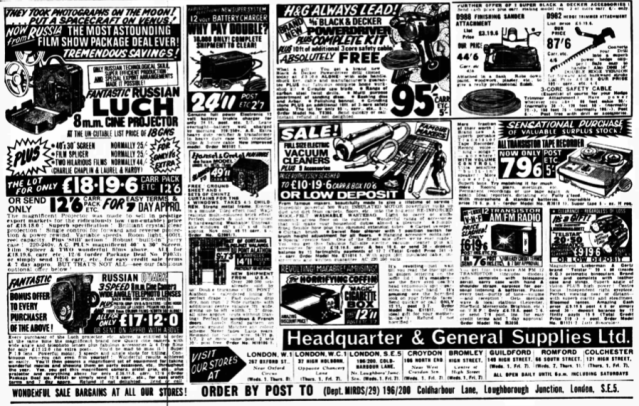 Headquarters & General Supplies Daily Mirror 2 March 1968