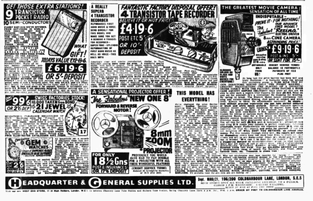 Headquarters & General Supplies Daily Mirror Nov 17 1962