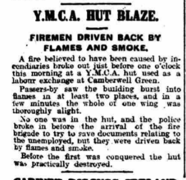 YMCA Hut fire The Globe Jan 15 1921