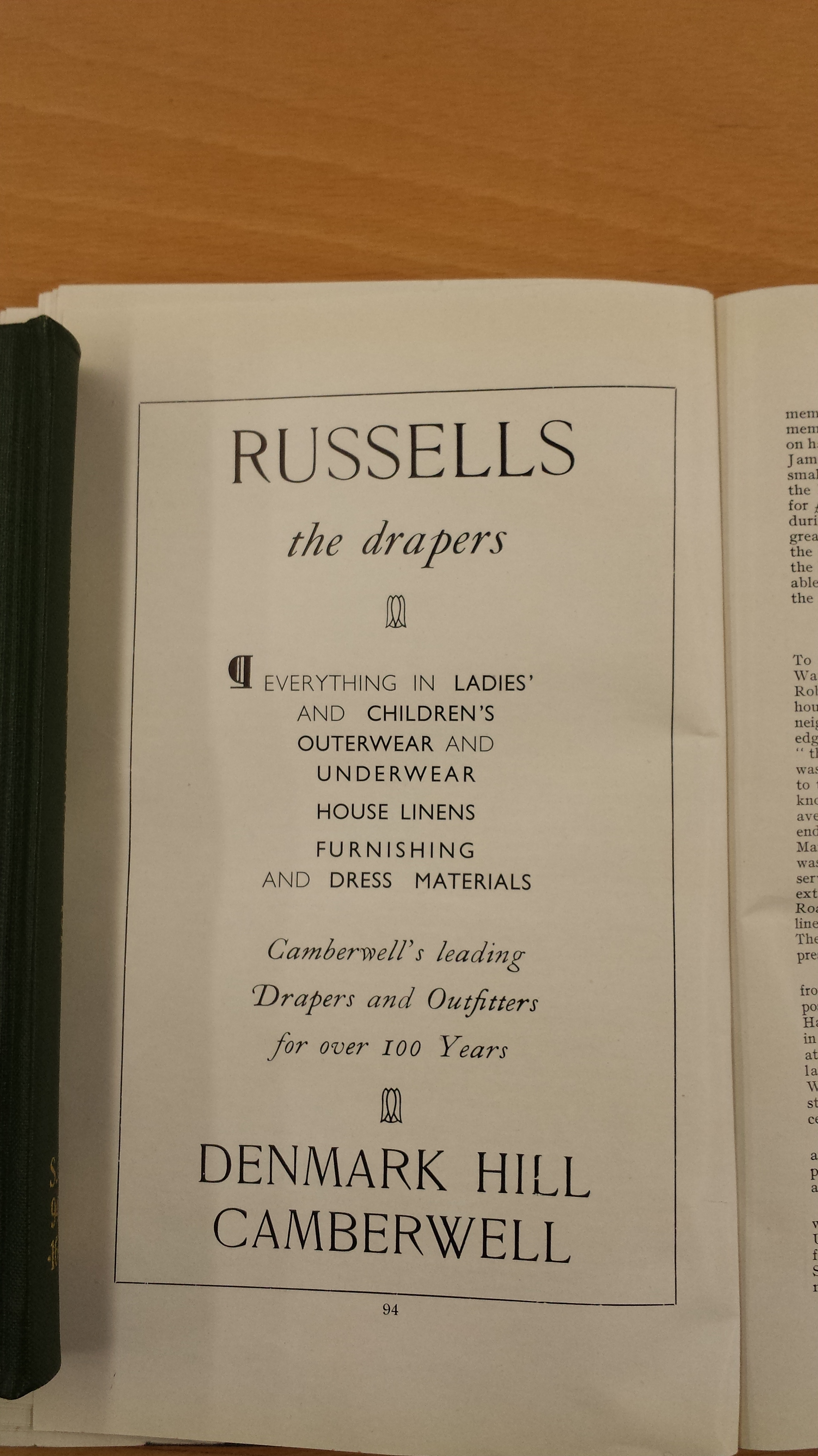 Advertisment from early Camberwell Quarterly