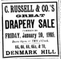 C Russell and & Co from South London Press Jan 14 1905