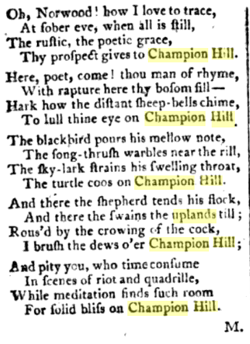 Champion Hill Near Camberwell 2 signed M The Ladies magazine 1796