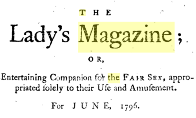 The Lady's Magazine, June 1796