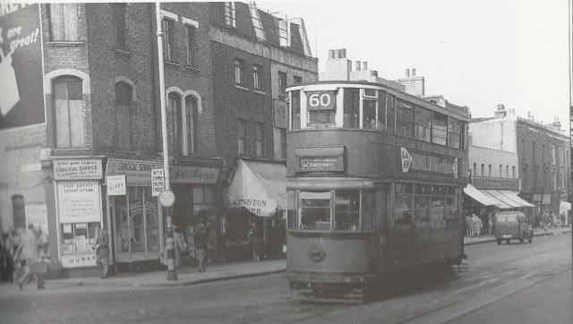 Tram 60 on Denmark Hill at junction of Coldharbour Lane, Photo John H Meredith.jpg